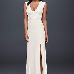 Plunging neckline Jersey sheath dress. Size 4.